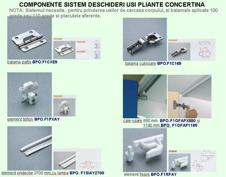 sistem concertina de deschidere 2 usi lemn pal etc lungime sina l 880 mm pentru inaltime usa. Black Bedroom Furniture Sets. Home Design Ideas
